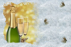 Toast champagne. And ice frame Stock Images