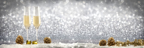 Toast champagne. Silver background snow Stock Images