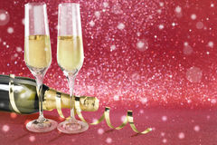 Toast champagne, valentine`s day red background Stock Photo