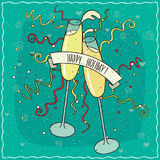 Toast with champagne or wine glasses. Glasses of champagne or wine collide in air, liquid in containers, splashing, festive ribbons and confetti fly. Happy Stock Photography