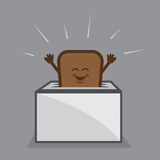 Toast Character Toaster. Toast character popping up from toaster Stock Photo