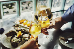 Toast Cheers Alcohol Beverage Celebration Party Concept. Couple Date Cheers Drinks Concept Royalty Free Stock Image