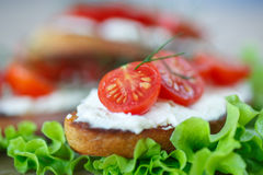Toast with cheese and cherry tomatoes Stock Photo