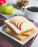 Toast with cheese curd, honey and apple, a cup of coffee Stock Photography