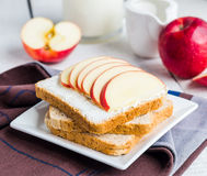 Toast with cheese curd, honey and red apple, snack Stock Photography