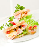 Toast with cheese and ham Stock Photo