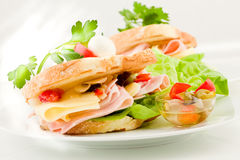 Toast with cheese and ham Royalty Free Stock Images