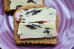 Toast with cheese and ham Stock Image