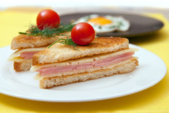 Toast with cheese and ham Royalty Free Stock Photography