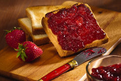 Toast with cherry jam Stock Photo