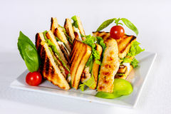 Toast chicken sandwiches, gourmet food composition Royalty Free Stock Photography