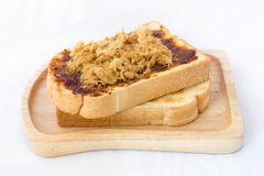 Toast chilies and shredded pork. On the wood plate stock photos