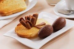 Toast with chocolate stock photo