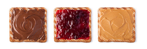 Toast. With Chocolate, butter peanut and jam. Isolated on a white background stock images