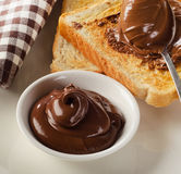 Toast with chocolate spread for breakfast Stock Image