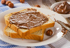 Toast with chocolate spread on  plate Stock Photography