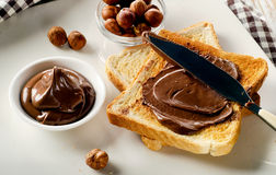 Toast with chocolate spread for a sweet breakfast Stock Photography