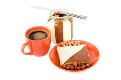 Toast with chocolate spreads, cup of coffee Stock Photography