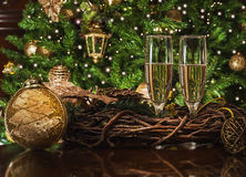 Toast for Christmas party. 2016 happy new year toast Stock Photo