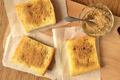 Toast with cinnamon and sugar Royalty Free Stock Images