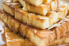 Toast. Close up photo of toast with sweetened condensed milk and butter Royalty Free Stock Images