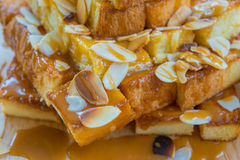 Toast. Close up photo of toast with sweetened condensed milk and butter Stock Photos
