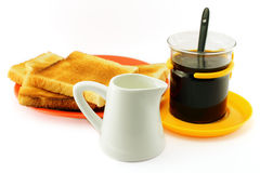 Toast, coffee and milk jug Royalty Free Stock Image