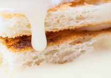 Toast And Condensed Milk Close Up View III Royalty Free Stock Images