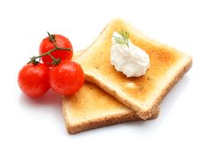 Toast with cottage cheese Stock Images