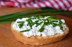 Toast with cottage cheese and chives Royalty Free Stock Photos
