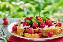 Toast with cottage cheese and fresh raspberries Royalty Free Stock Photography