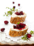 Toast with cranberry jam Royalty Free Stock Photos