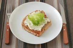 Toast with cream cheese on a plate Royalty Free Stock Photo