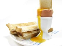 Toast and egg. Soldiers in egg stock photo