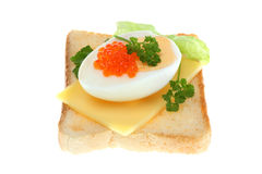 Toast with egg and caviar. Royalty Free Stock Photography