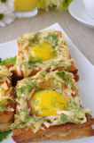 Toast with egg and cheese with dill Royalty Free Stock Photography