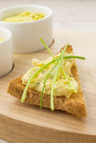 Toast with egg and chive salad. Toasted bread with egg and chive salad royalty free stock photos