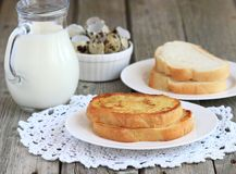Toast with egg and milk royalty free stock images
