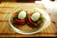 Toast with egg, tomato, dill royalty free stock photos