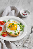 Toast with egg and tomatoes Stock Photography