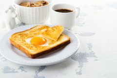 Toast with egg for Valentines day Royalty Free Stock Photo