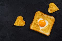 Toast with egg for Valentines day Stock Images