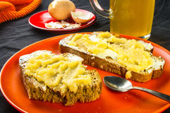 Toast, eggs and beer Stock Image