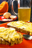 Toast, eggs and beer Royalty Free Stock Photos