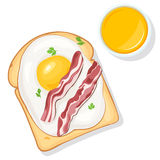 Toast with eggs and orange juice. Breakfast food. Toast with eggs, bacon, greens and orange juice top view. Vector illustration for your web design or print Stock Photo