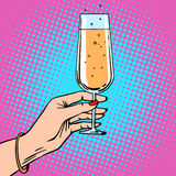Toast a female hand with glass of champagne Stock Images