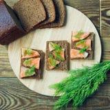 Toast with fish Stock Photo