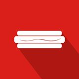 Toast Flat Icon  With Red Background Royalty Free Stock Photo