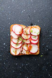 Toast with fresh radish top view. Healthy food Royalty Free Stock Photos