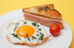 Toast and fried eggs Royalty Free Stock Photo
